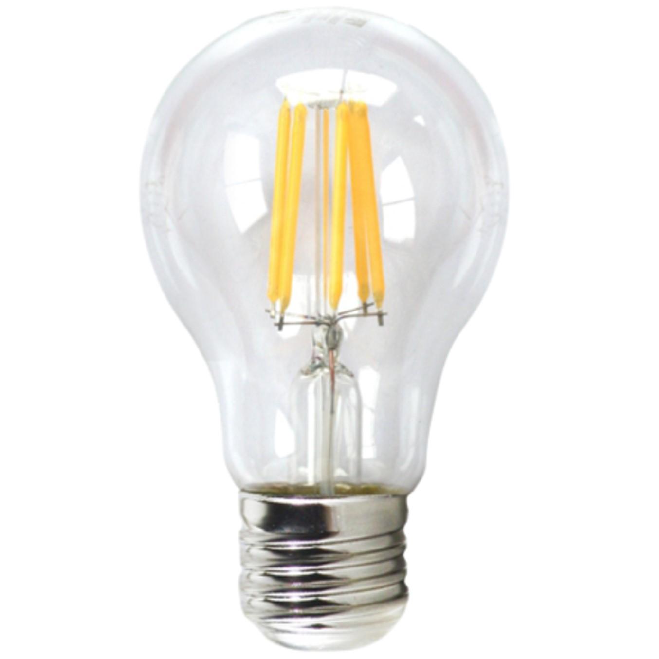 Bombilla led silver electronic filamento transprente estandar 6w=80w -  e27 -  3000k luz calida -  a++