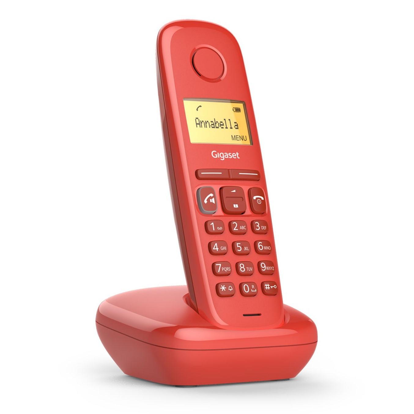 Telefono fijo inalambrico gigaset a270 rojo 80 numeros agenda -  10 tonos