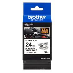 Cinta laminada brother tzefx251 texto negro sobre fondo blanco -  24mm ancho -  8m longitud